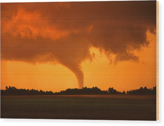 Tornado Sunset Wood Print