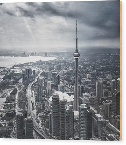 Toronto Aerial View During A Storm Wood Print by Franckreporter