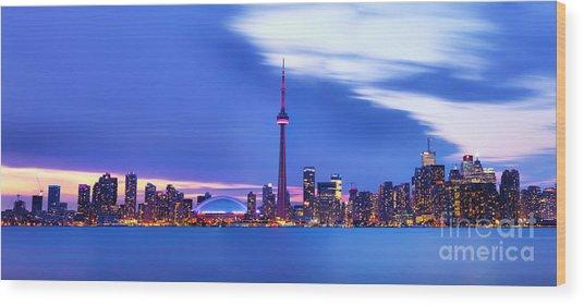 Toronto Bay Panorama Wood Print