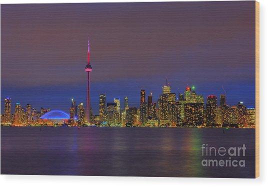 Toronto By Night... Wood Print
