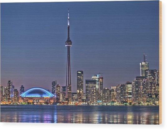Toronto Night Skyline Cn Tower Downtown Skyscrapers Sunset Canada Wood Print