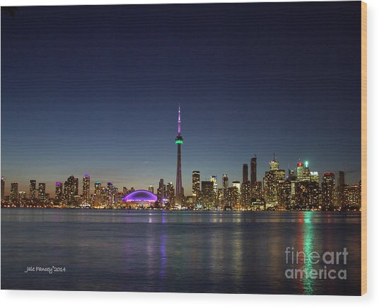 Toronto Skyline Colours Wood Print