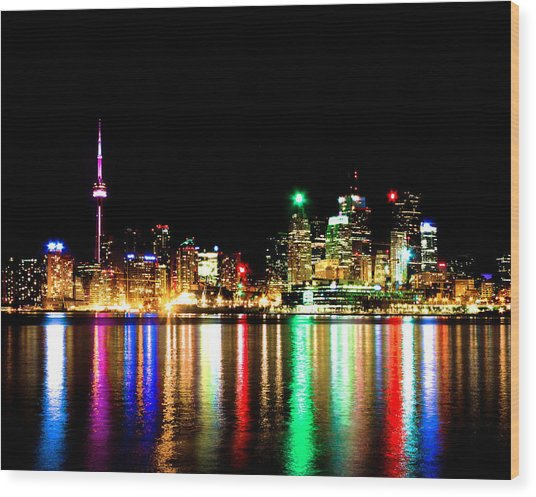 Toronto Skyline Night Wood Print