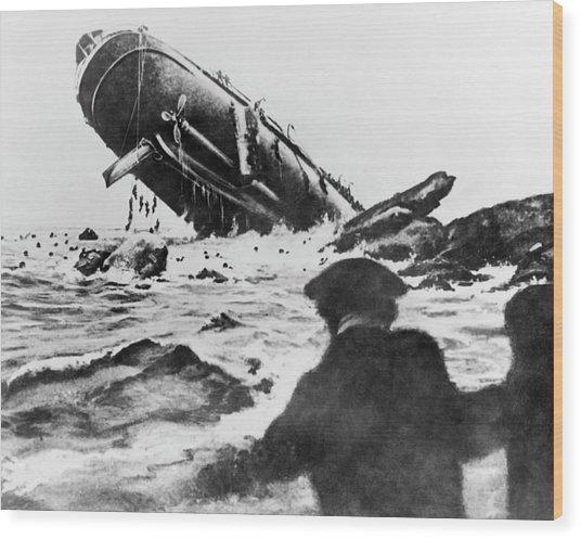Torpedoed Ship In World War I Wood Print