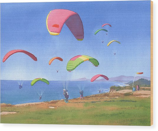 Torrey Pines Gliderport Wood Print by Mary Helmreich