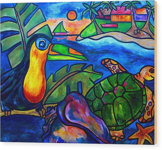 Tortuga Eco Tour Wood Print by Patti Schermerhorn