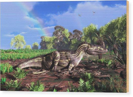 Torvosaurus And Rainbow Wood Print by Walter Myers