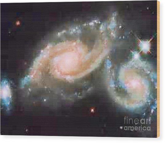 Touching Galaxies Wood Print