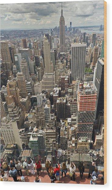 Tourists Viewing Downtown Manhattan Wood Print