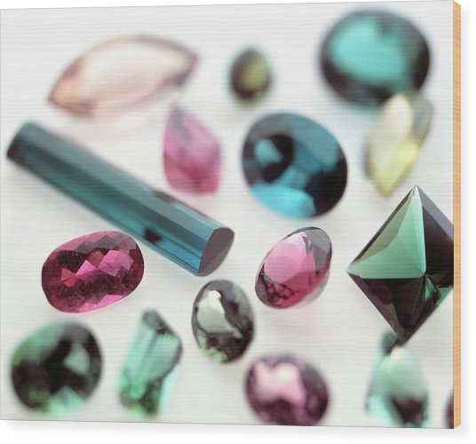 Tourmaline Gemstones Wood Print by Lawrence Lawry/science Photo Library