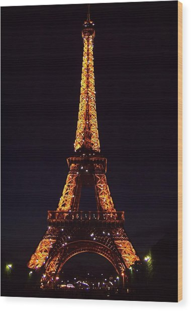 Tower At Night Wood Print