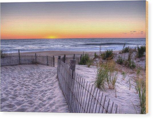 Tower Beach Sunrise Wood Print