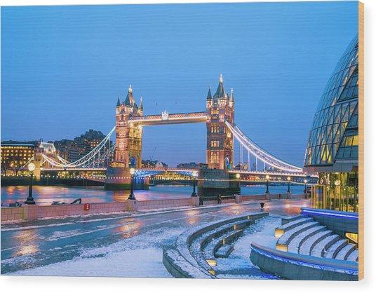 Tower Bridge And City Hall London Wood Print by Owenprice