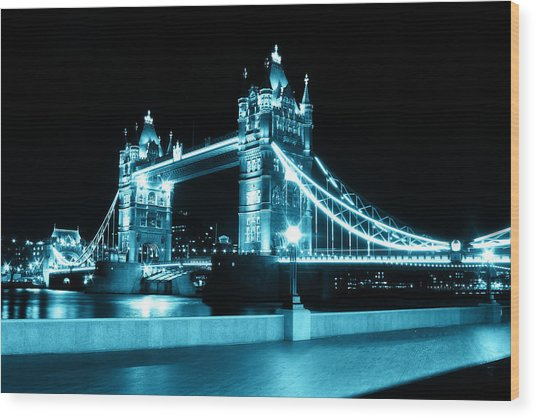 Tower Bridge Blue Wood Print by Dan Davidson