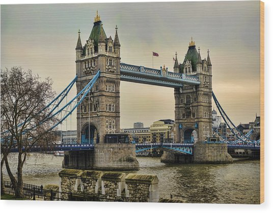Tower Bridge On The River Thames Wood Print