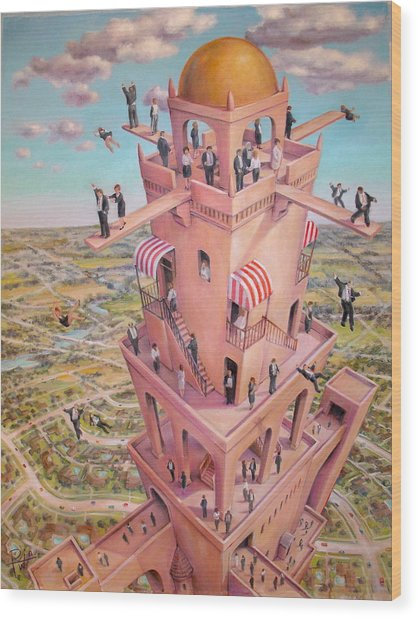 Tower Of Babbit Wood Print by Henry Potwin