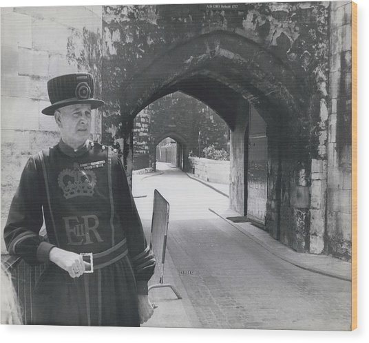 Tower Of London Closed By Beefeater Strike Wood Print by Retro Images Archive