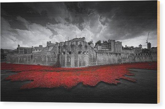 Tower Of London Remembers Wood Print