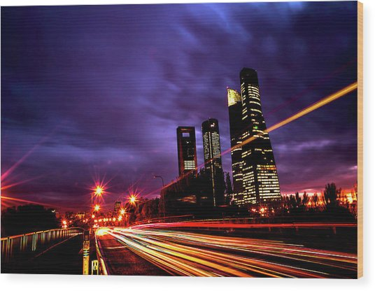 Towers And Skyscrapers Of Madrid Wood Print by Ddanni Hr