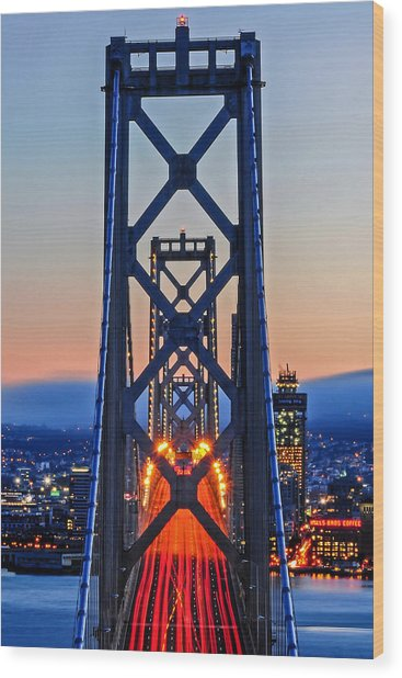 Towers Of The Bay Bridge Perfectly Aligned Wood Print