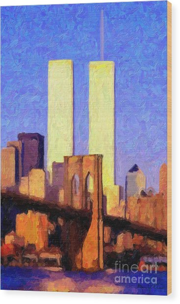 Towers Sunset  Wood Print