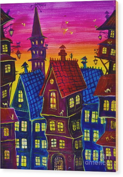 Town At Twilight Wood Print