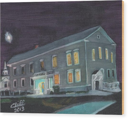 Town Hall At Night Wood Print