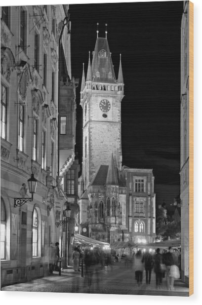 Wood Print featuring the photograph Town Hall Clock Tower / Prague by Barry O Carroll