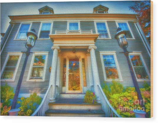 Town House Nantucket And Two Lamps 001 Wood Print