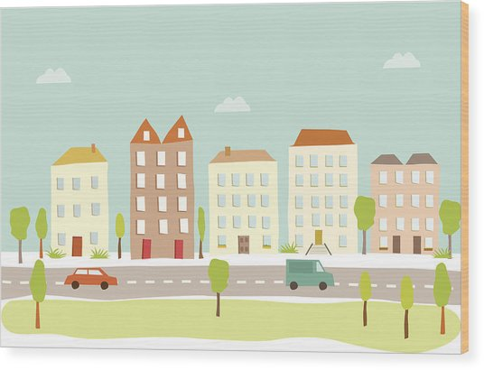 Town Houses Wood Print by Amathers
