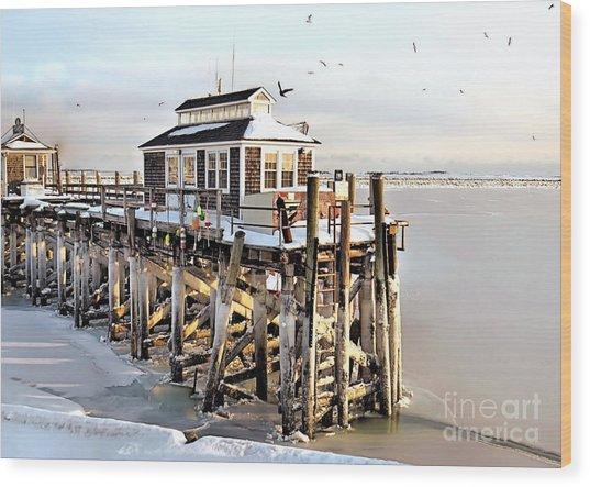 Town Pier Frozen Wood Print