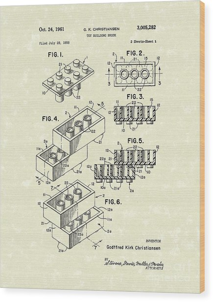 Toy Building Brick 1961 Patent Art Wood Print