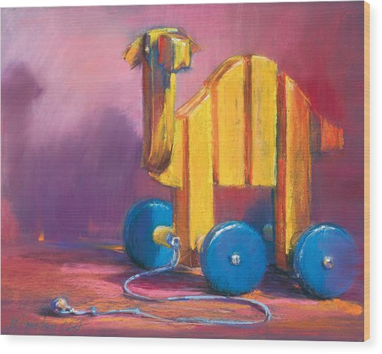 Toy Camel Wood Print by Beverly Amundson