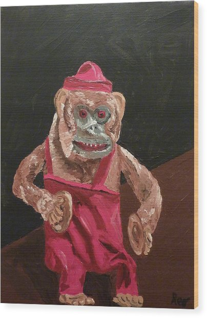 Toy Monkey With Cymbals Wood Print