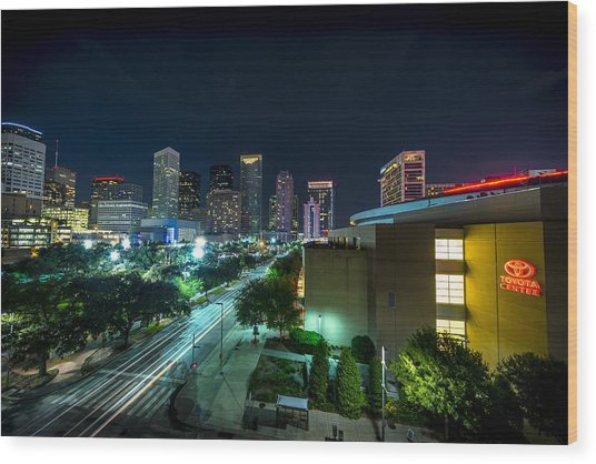 Toyota Center And Downtown Houston Wood Print