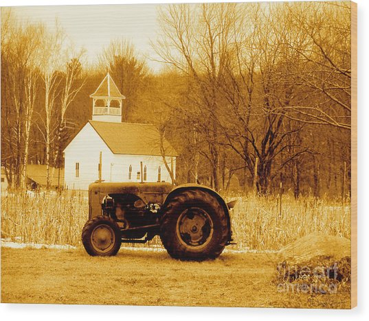 Tractor In The Field Wood Print