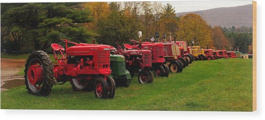 Tractor Lineup Wood Print by Don Dennis