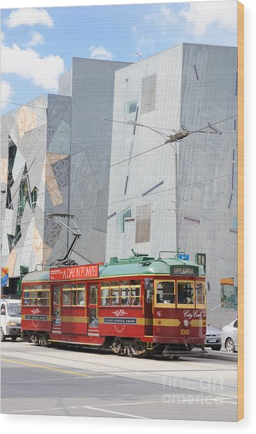 Traditional And Modern Symbols Of Melbourne - Tram And Architecture Wood Print