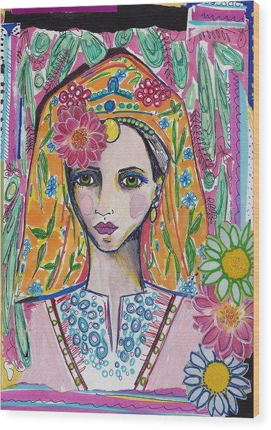 Traditional Bulgarian Folk Girl Wood Print