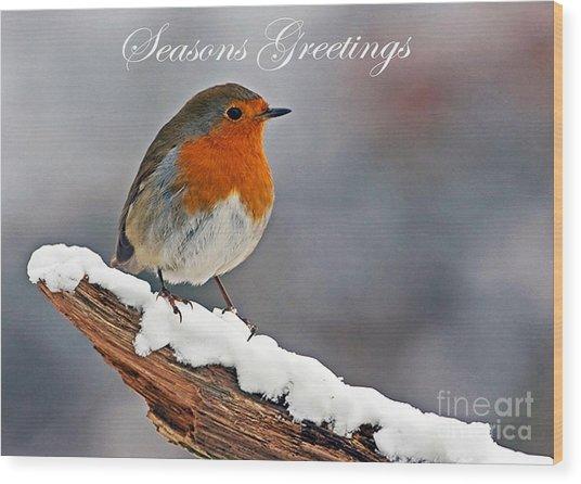 Traditional Christmas Robin Wood Print