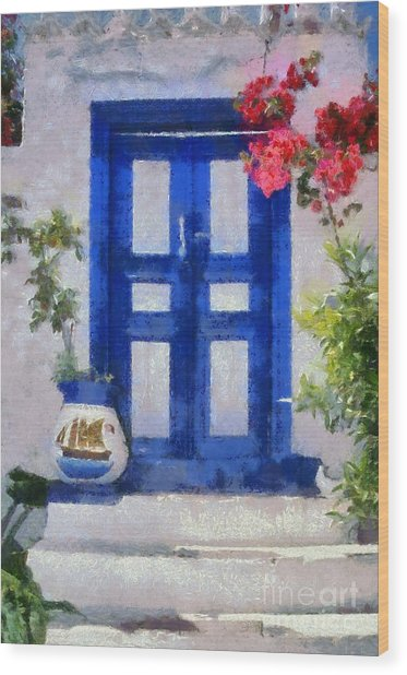 Traditional Door In Hydra Island Wood Print