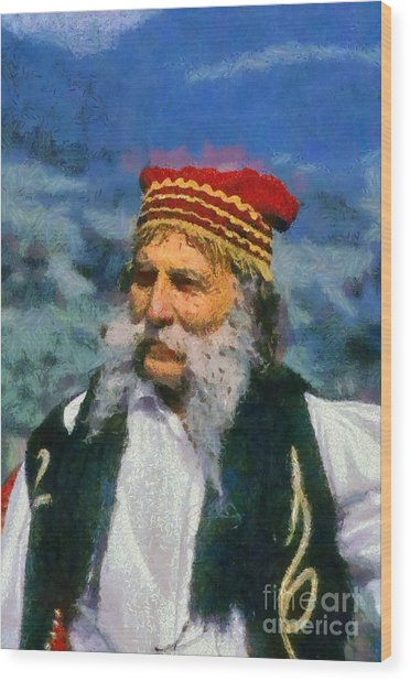 Traditional Dressed Man In Delphi Wood Print