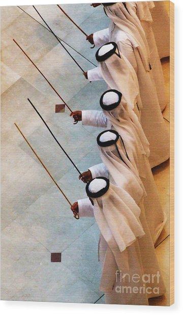 Traditional Emirati Men's Dance  Wood Print