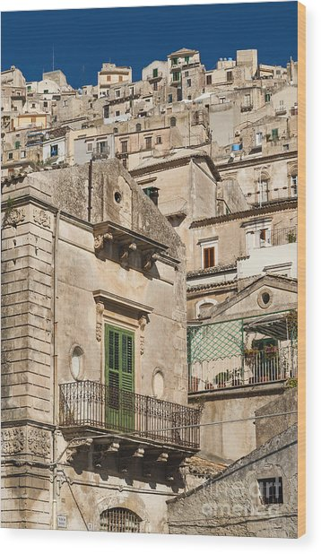 Traditional Houses Of Modica In Sicily Italy Wood Print