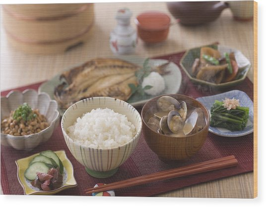Traditional Japanese Breakfast Wood Print by Mixa
