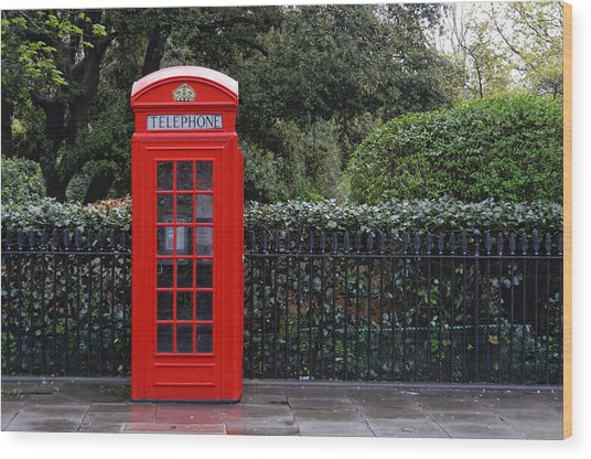 Traditional Red Telephone Box In London Wood Print