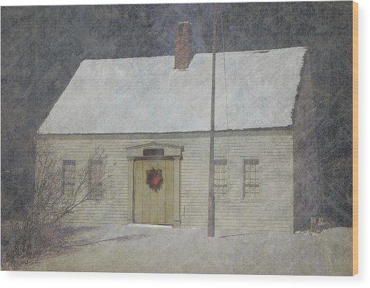 Traditional Snow Colonial Salt Box Home Christmas Card Wood Print