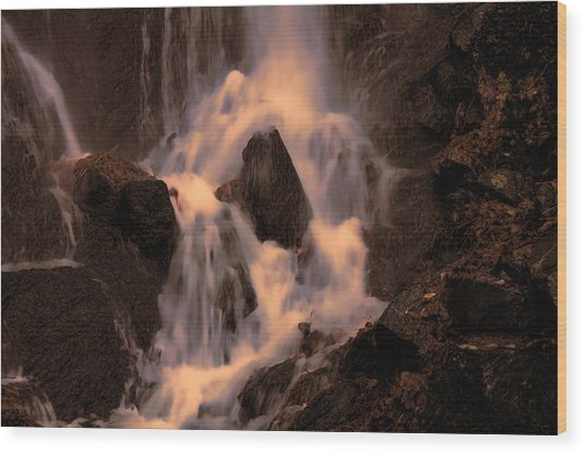 Traditional Waterfall At Sunset Wood Print