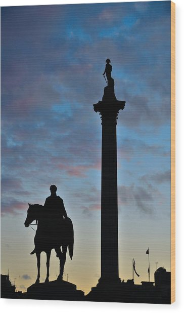 Trafalgar Square At Sunset Wood Print by Steven Richman