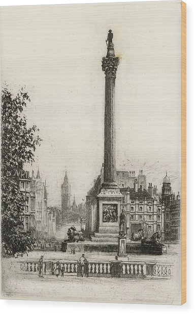Trafalgar Square, With Big Ben Wood Print by Mary Evans Picture Library